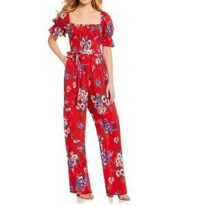 Band of Gypsies Red Floral Jumpsuit | Size S